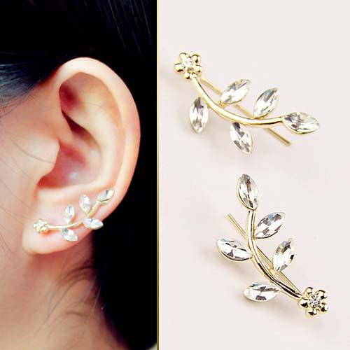 crystal diamond leaves earrings JUN062