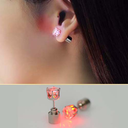 Anting LED luminous flash zircon earrings JUN139