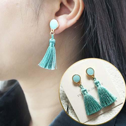 green turquoise tassel earrings JUN150