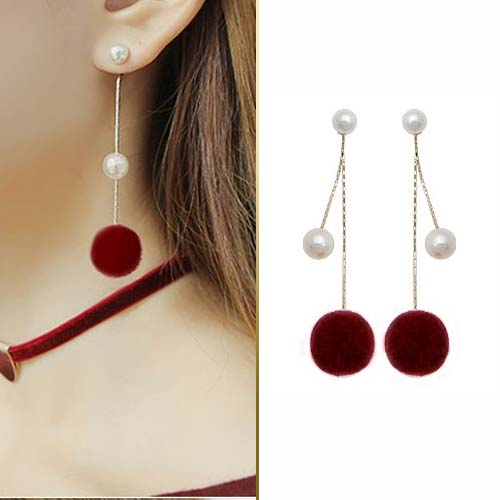 Fur PomPom pearl ball earrings JUN201