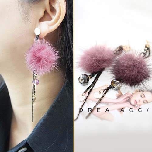 Fur PomPom handmade mink droplets crystal earrings JUN203