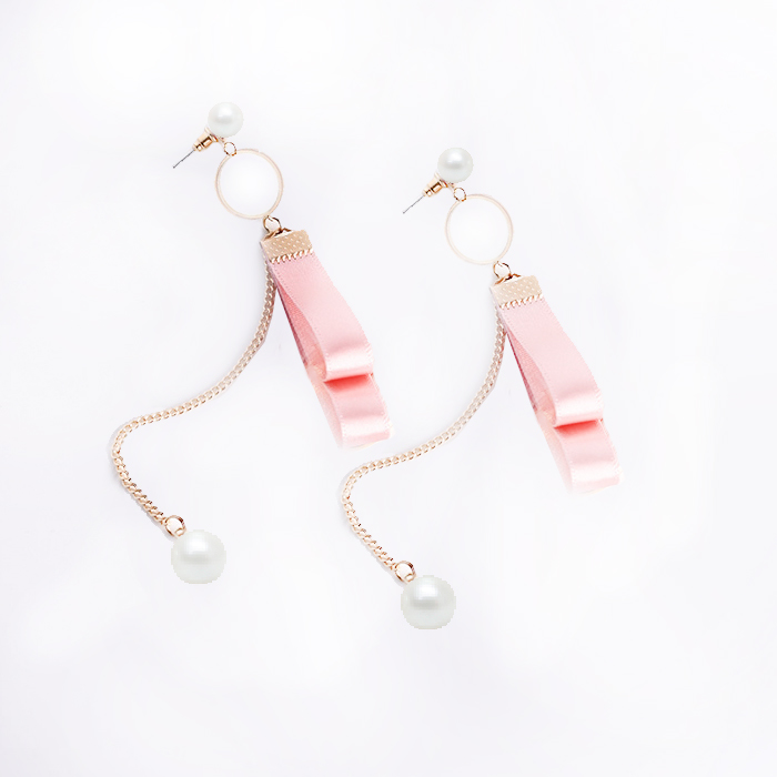 Anting Fabric Ribbon Bowknot Long Style Sweet and lovely earrings JUN252