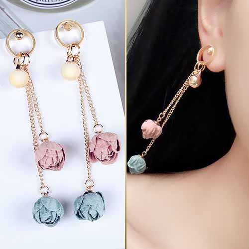 Anting Floral two color flowers long tassel earrings JUN253
