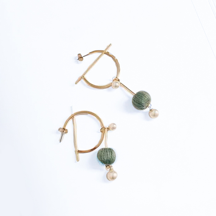 Anting South Korean Pompom Pearl Round Earrings REA090