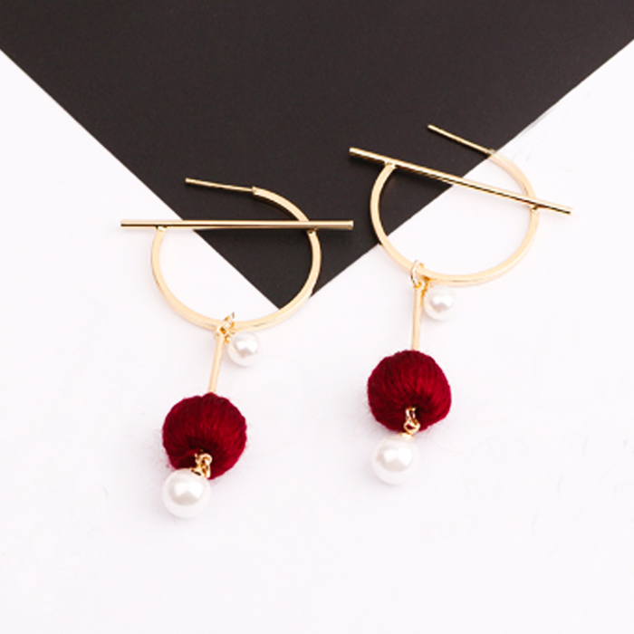Anting South Korean Pompom Pearl Round Earrings REA092