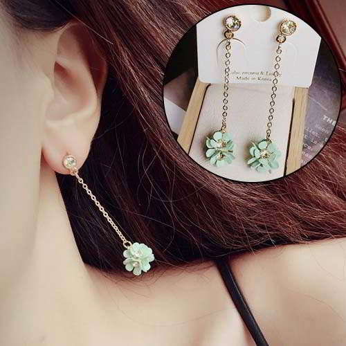 Anting South Korean Flowers Long Chain Earrings REA136