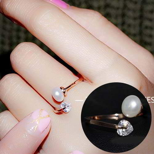 Cincin Korea Zircon pearl ring REA240