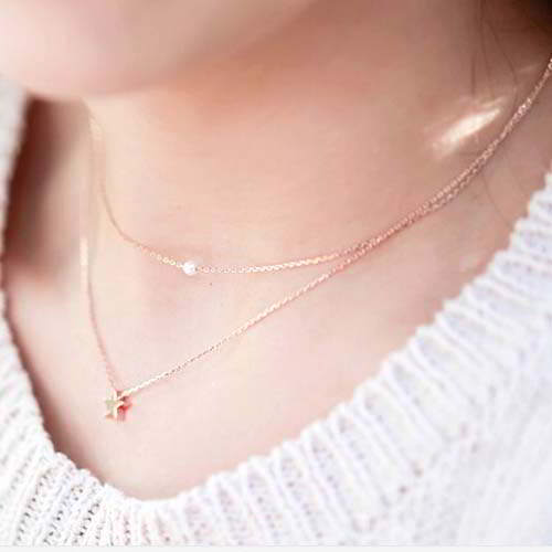 Kalung Star pearl  necklace Titanium steel silver plated 18k REA273