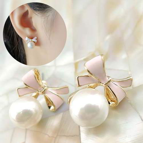Anting Sweet Bow Drop Pearl Ear Clip No Needle REA349