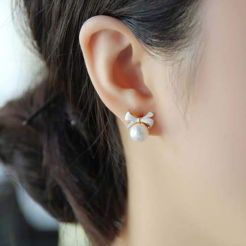 Anting Sweet Bow Drop Pearl Ear Clip No Needle REA351