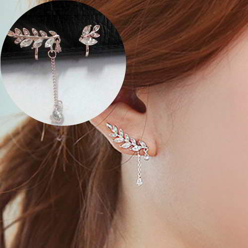 Anting Leaves Around Ear Clip No Needle REA353
