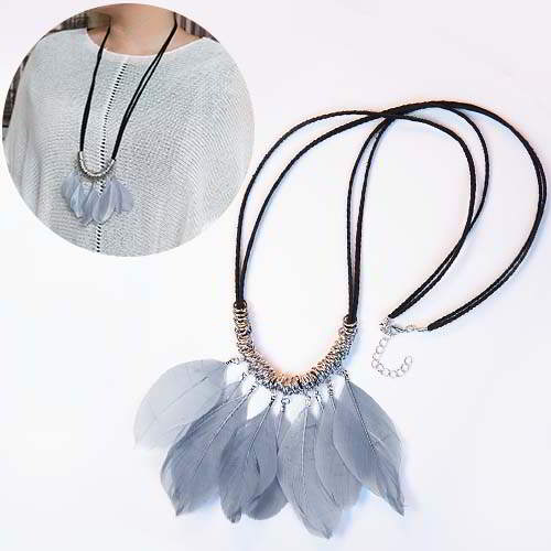 Kalung bohemian feather autumn and winter REA450