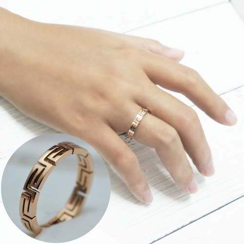 Cincin Korea rose gold ring titanium steel fashion simple TITA04