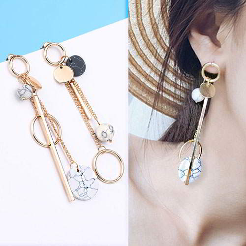 Anting Marble flower pattern earrings RSMF02