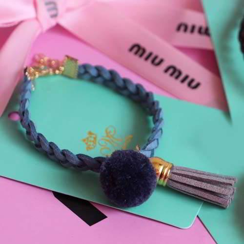 Bangle JRK Kids PomPom woven leather tassel bracelet S1M025