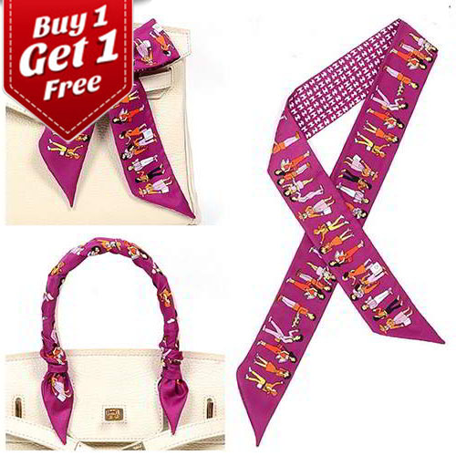 Syal & Scarf BUY 1 GET 1 FREE Premium Twilly Scarf French Silk TWIL08