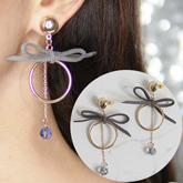 elegant ring bowknot black crystal earrings