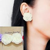 Fabric Three Camellia earrings