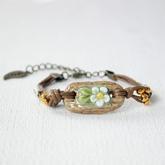 Ethnic ceramic flowers bracelet