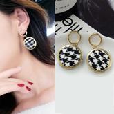 Circle lattice fabric earrings