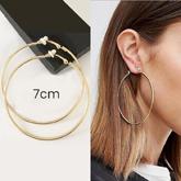 Minimalist round hoop ear clip 7cm