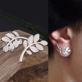 simple metal leaves earrings