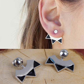 Simple metal triple arrow earrings