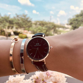 DW Fashion Watch Leather Rose Gold Frame + Rose Gold Dial + Black Band