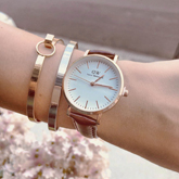 DW Fashion Watch Leather Rose Gold Frame + Rose Gold Dial + Dark Brown Band