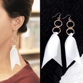 Double round ribbon long earrings