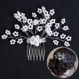 Wedding Accessories Handmade Pearl Beaded Crystal Diamond Flower Comb Hair