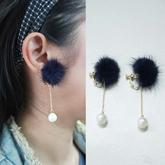 Pompom Pearl Earrings No Needle