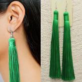Bride retro exaggerated long tassel earrings