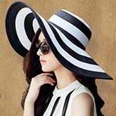 Black White Beach Straw Hat