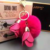 PomPom Fur Ball Flower Tassel Key Chain