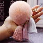 PomPom Fur Ball 3 Tassel Key Chain