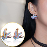 color drops of oil swallows soft style earrings
